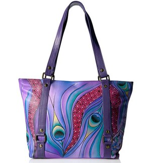 Anna By Anuschka Tote Handbag  Lg Belted Dreamy peacock Dewberry