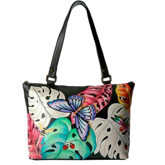 Anna By Anuschka Satchel Handbag Medium Lovely Leaves