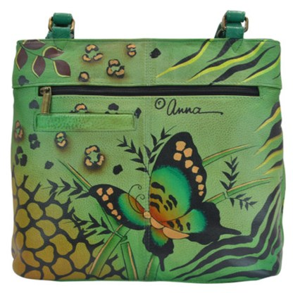 Anna By Anuschka Tote Handbag Lg Twin Top Animal Butterfly- Geen