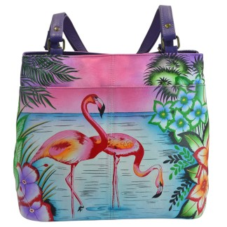 Anna By Anuschka Tote Handbag  Lg Twin Top Tropical Flamingo