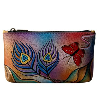 Anna by Anuschka Ladies Wallet  Cosmetic Case Peacock Butterfly