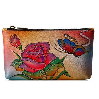 Anna by Anuschka Ladies Wallet  Cosmetic Case Rose Butterfly