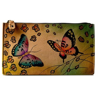 Anna by Anuschka Ladies Wallet  Sqr Organized Animal Butterfly