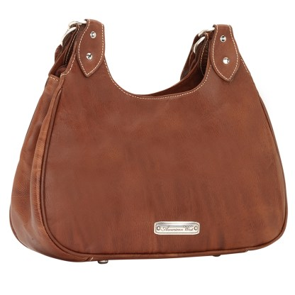 American West Lady Lace Three Compartment Tote Handbag Brown Leather
