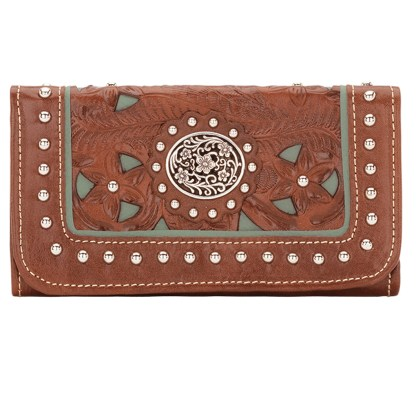 American West Leather Ladies' Tri-Fold French Wallet Lady lace
