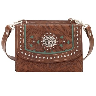 American West Two Step Cross Body Wallet Handbag Lady Lace Brown Leather