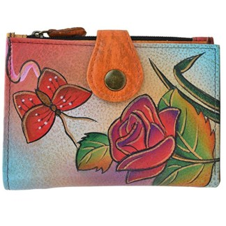 Anna by Anuschka Ladies Wallet  Rose Butterfly 2 Fold Small