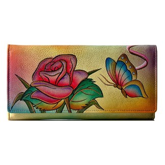 Anna by Anuschka Ladies Wallet  Rose Butterfly Checkbook