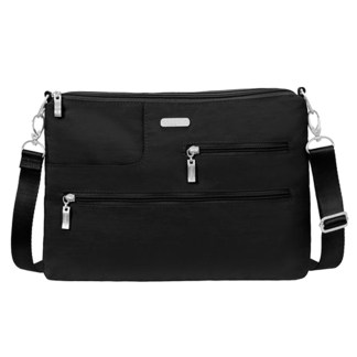 Baggallini Tablet Crossbody w RFID - Shoulder Organizer Travel Bag Black Sand