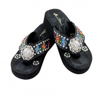 Montana West Flip Flop Sandals Hand Beaded Embroidered Bk Multi Bling