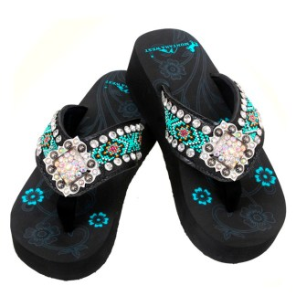 Montana West Flip Flop Sandals Hand Beaded Embroidered Bk Aztec Dmnd