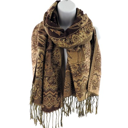 Silver Fever Pashmina - Jacquard Paisley Shawl - Stylish Scarf - Double Sided Wrap  Coco Floral
