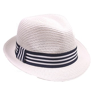 Silver Fever Stripped Panama Fedora Hat for Men or Women White w Stripes