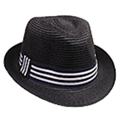 Silver Fever Stripped Panama Fedora Hat for Men or Women Black w Stripes