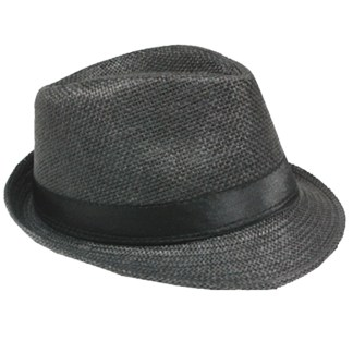 Silver Fever Stripped Panama Fedora Hat for Men or Women Charcol black belt