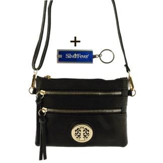Silver Fever Crossbody Hipster Mini Indie Handbag Black Wristlet Hndl