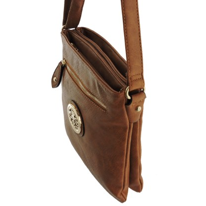 Silver Fever Fashion Crossbody Hipster Tote Indie Designed Handbag Camel 3 Comp