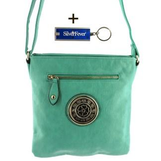 Silver Fever Fashion Crossbody Hipster Tote Indie Designed Handbag Mint 3 Comp