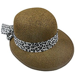 Silver Fever Women Summer Fancy Sun Hat Fits All Brown with cheetah