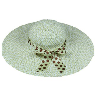 Silver Fever Women Summer Fancy Sun Hat Fits All Khaki with polka dote