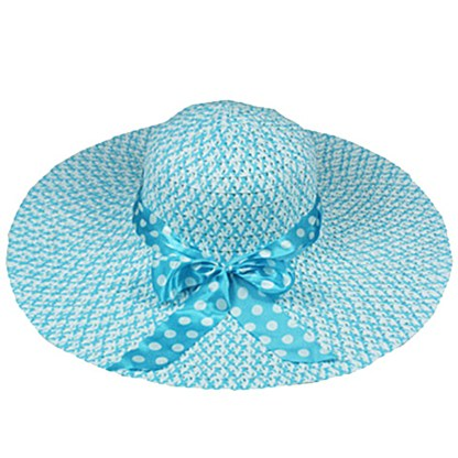 Silver Fever Women Summer Fancy Sun Hat Fits All Blue with polka dote