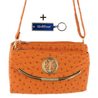 Silver Fever Crossbody Hipster Mini Indie Handbag Orange Ostrige
