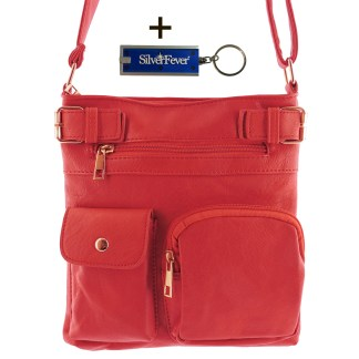 Silver Fever Fashion Crossbody Hipster Tote Indie Designed Handbag RED  3 Pck
