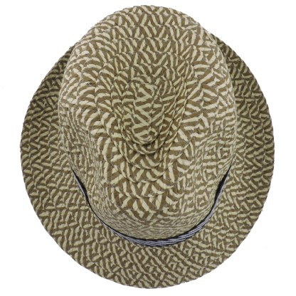 Silver Fever Stripped Panama Fedora Hat for Men or Women Navy Sand