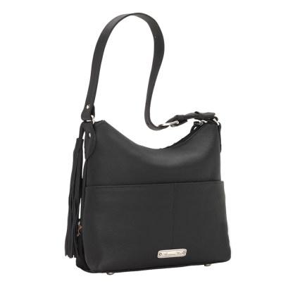 American West Leather Shoulder Handbag - Wild Horses - Black