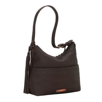 American West Leather Shoulder Handbag - Wild Horses - Chocolate
