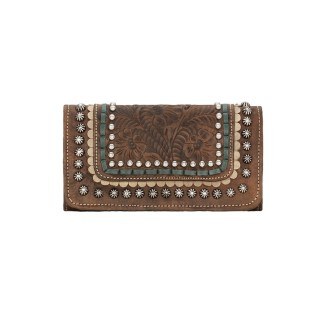 American West Leather Ladies' Tri-Fold French Wallet -Blue Ridge -Charcoal Brown