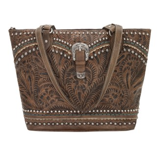 American West Leather Handbag- Zip Top Tote - Blue Ridge - Charcoal