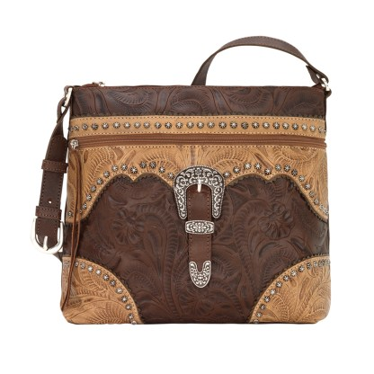 American West Leather Shoulder Handbag - Saddle Ridge -Brown