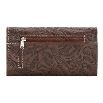 American West Leather Ladies' Tri-Fold French Wallet -Saddle Ridge -Chestnut Brown