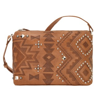 American West Leather Cross Body Handbag-Blue Ridge -Charcoal Brown