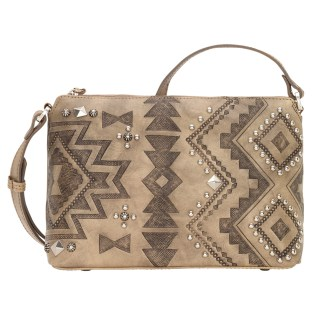American West Leather Cross Body Handbag-Nomad Heart -Sand