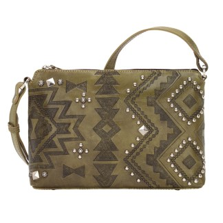 American West Leather Cross Body Handbag-Nomad Heart -Olive