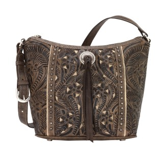 American West Leather Shoulder Handbag - Hill Country- Charcoal