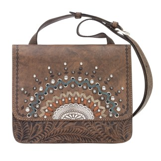 American West Leather Cross Body Handbag-Bella Luna -Charcoal Brown