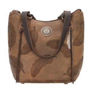 American West Leather Handbag- Zip Top Tote - Sacred Bird Bucket - Charcoal