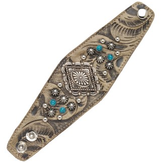 "American West Handmade Tooled Leather Cuff Bracelet 2.5"", Diamond Concho"