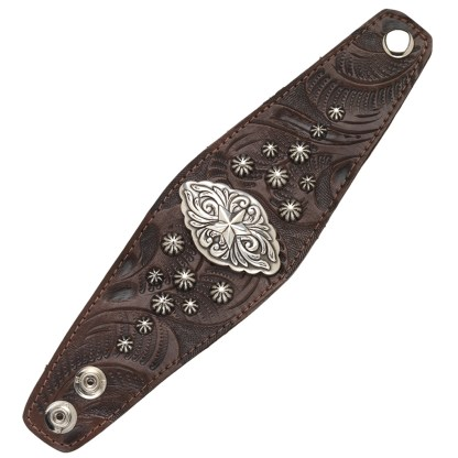 "American West Handmade Tooled Leather Cuff Bracelet 2.5"", Star Concho"