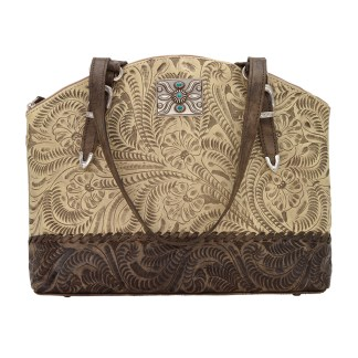 American West Leather Handbag- Half Moon Tote - Annie's Secret Consealed Carry - Sand C-Out