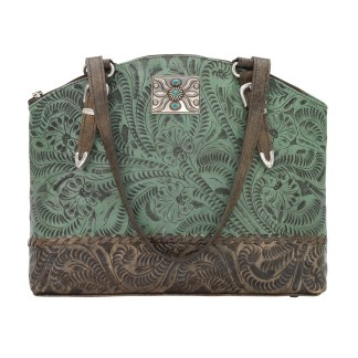 American West Leather Handbag- Half Moon Tote - Annie's Secret Consealed Carry - Turquoise  C-Out