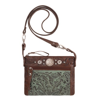 American West Leather Cross Body Handbag-Trail Rider -Brown Turquoise