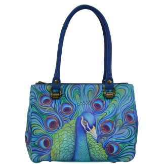 Anuschka Triple Compartment Medium Tote- Hand Painted Real Leather Handbag - Jeweled Plum