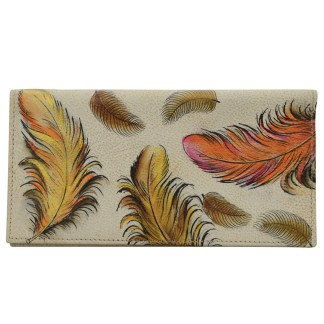 Anuschka Hand Painted Leather Check Book Holder ID Window Floating feathers Ivory