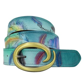 "Anuschka Adjustable Belt Fits All sizes up to 40.5"" Hand Painted Leather Floating Feathers"