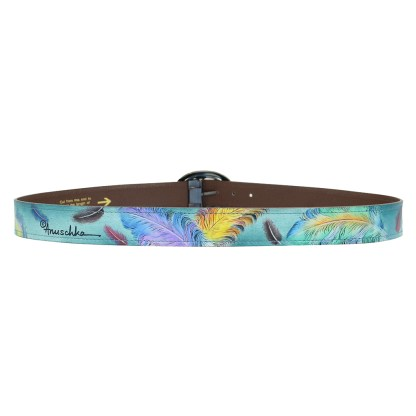 """Anuschka Adjustable Belt Fits All sizes up to 40.5"""" Hand Painted Leather Floating Feathers"""