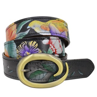 "Anuschka Adjustable Belt Fits All sizes up to 40.5"" Hand Painted Leather Vintage Bouquet"
